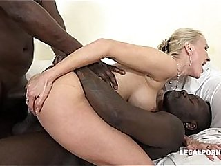 Kinky luxury cougar Iskra discovers interracial with an increment of takes 2 BBC's in her Ass
