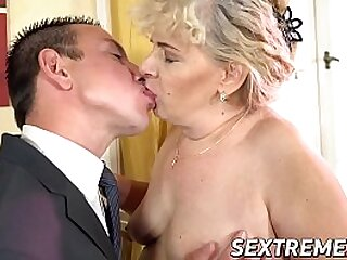 Old and young sex residuum with cum in mouth